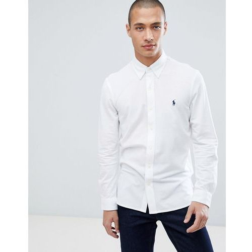 Polo Ralph Lauren slim fit pique shirt player logo button-down in white - White, kolor biały