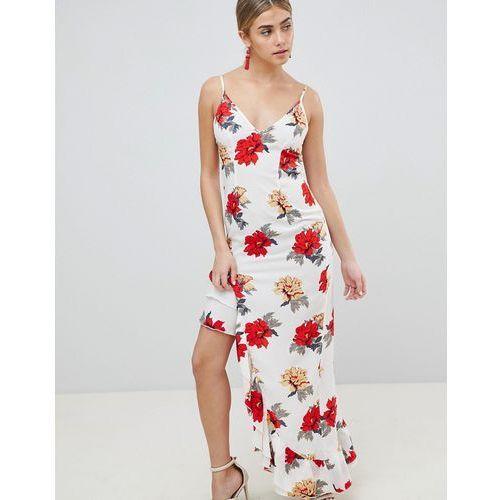 Prettylittlething floral side split maxi dress - white