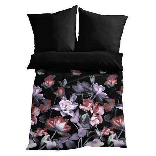 Pościel dwustronna z nadrukiem w kwiaty bonprix czarny, kolor fioletowy