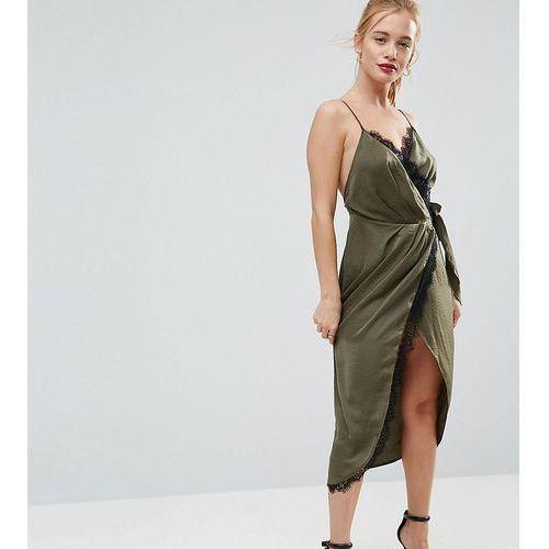 ASOS PETITE Hammered Satin Lace Trim Cami Sexy Wrap Midi Dress - Green, kolor zielony