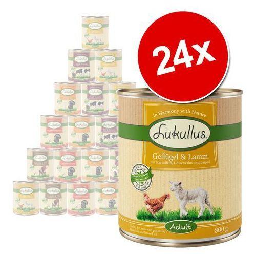 Lukullus Mieszany megapakiet - 24 x 400 g: drób, jagnięcina, królik, dziczyzna, wołowina