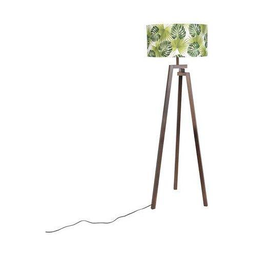 Designerska lampa podlogowa trójnóg drewno braz klosz w liscie - Cortina