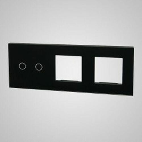 TouchMe Duży panel szklany, 1 x łącznik podwójny, 2 x ramka, czarny TM702728728B, kolor czarny