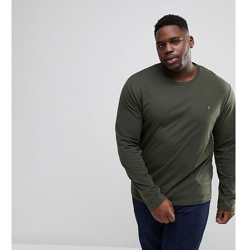Farah PLUS Farris Slim Fit Long Sleeve T-Shirt in Green - Green, w 2 rozmiarach