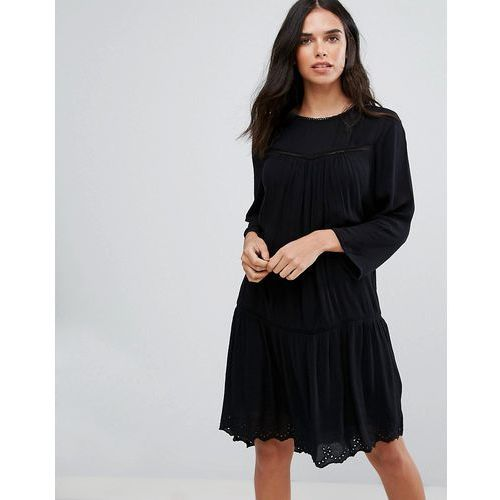 Y.a.s rise sleeve dress with lace insert - black