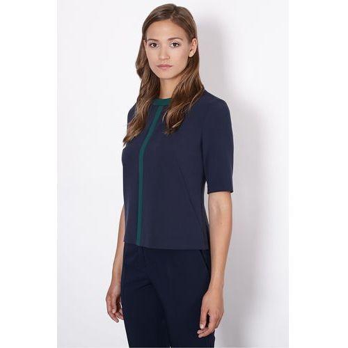 Granatowa bluzka z kontrastowym wykończeniem - Click Fashion, rozmiar 38, niebieski