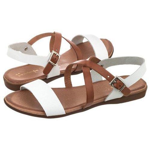 Sandały Maciejka Białe/Brązowe ES003-11/00-0 (MA234-b), kolor biały
