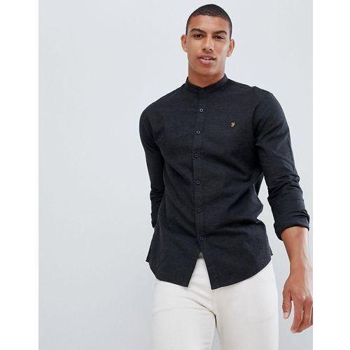 Farah steen slim fit textured grandad collar shirt in grey - grey