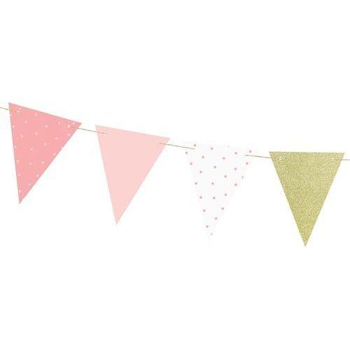 Party deco Baner flagi różowy na roczek 1st birthday - 1,3 m