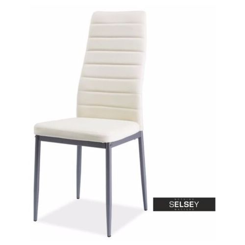 SELSEY Krzesło tapicerowane Lastad kremowe na satynowej podstawie, kolor beżowy