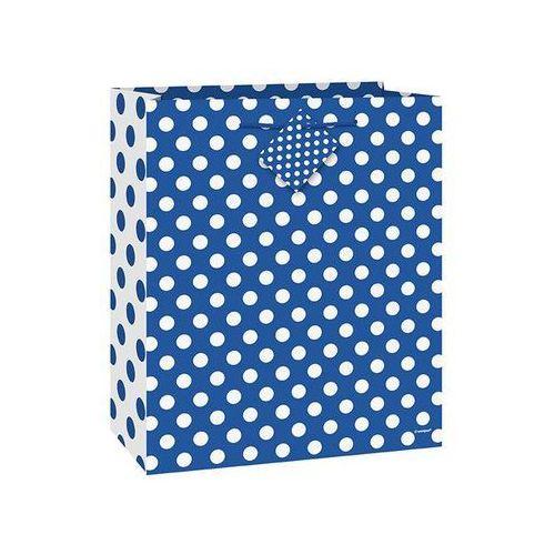 Unique Torebka prezentowa niebieska w białe kropeczki 18x23 cm - 1 szt.