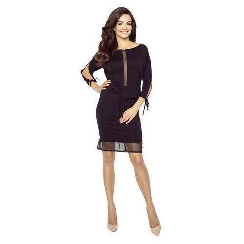 Czarna Wygodna Sukienka z Siateczką, w 5 rozmiarach