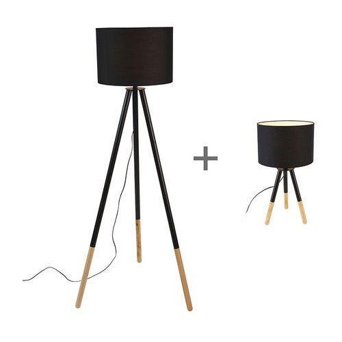 Komplet czarna lampa stołowa i podłogowa z kloszem - Pip