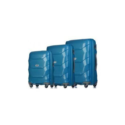 Komplet walizek  kolekcja pp011 miami zestaw duża + średnia + mała/ kabinowa 4 koła materiał polipropylen zamek szyfrowy z systemem tsa marki Puccini