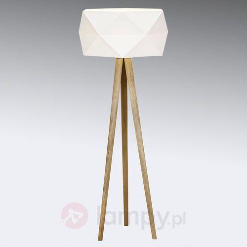 Brilliant Polygon Lampa Stojąca Biały, Jasne drewno, 1-punktowy - Nowoczesny - Obszar wewnętrzny - Polygon - Czas dostawy: od 4-8 dni roboczych