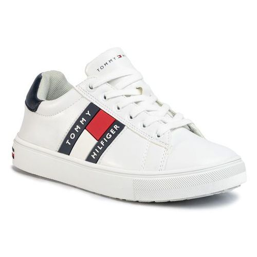 Tommy hilfiger Sneakersy - low cut lace-up sneaker t3b4-30718-0900 s white/blue x336