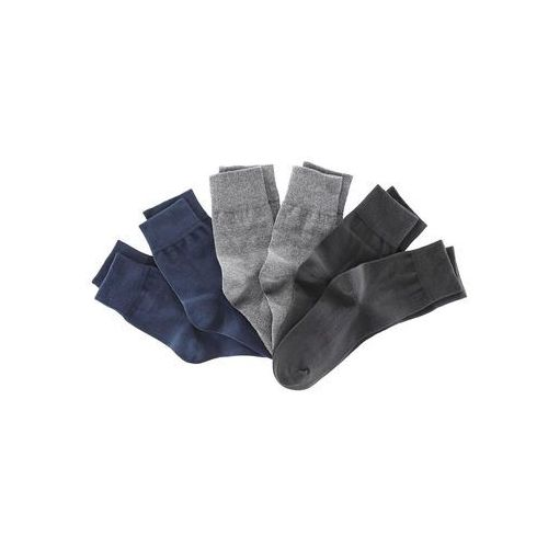 Bonprix Skarpetki (6 par), kolorowe czarny + ciemnoniebieski + ciemnoszary