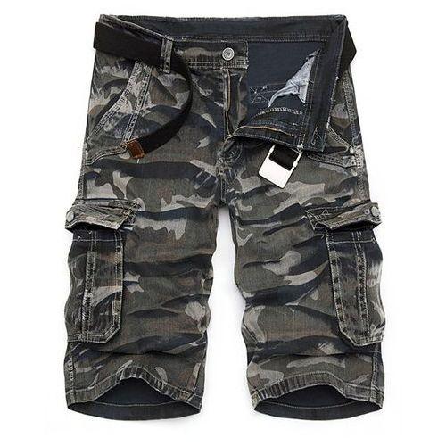 Camo Print Multi-Pocket Loose Fit Straight Leg Zipper Fly Cargo Shorts For Men ()