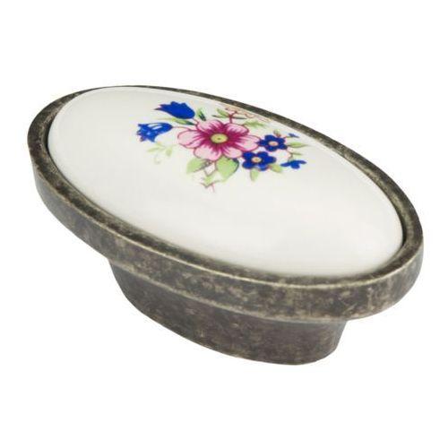 Schaffner Gałka cypr patyna porcelana kwiat