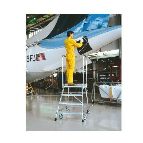 Mobilna aluminiowa drabina platformowa ze schodkami - 7 stopni, 1,68 m marki B2b partner
