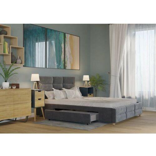 Łóżko 140x200 tapicerowane bergamo + 2 szuflady + materac welur ciemno szare marki Big meble