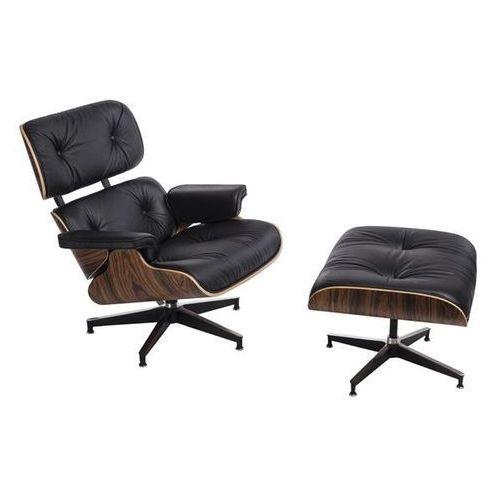 Fotel Vip z podnóżkiem (czarny/palisander/standardowa baza) D2
