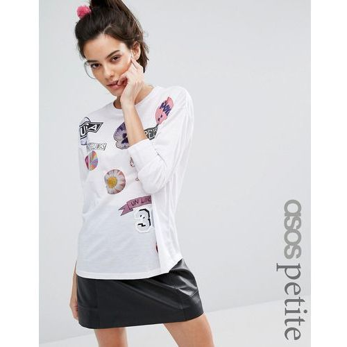 ASOS PETITE T-Shirt with Mix and Match Badge Print and Long Sleeves - White