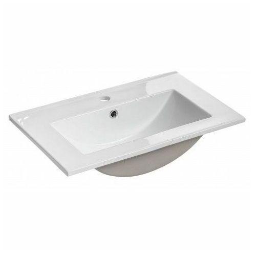 Biała prostokatna ceramiczna umywalka - Ravos 60 cm, UM-2060RB/8009