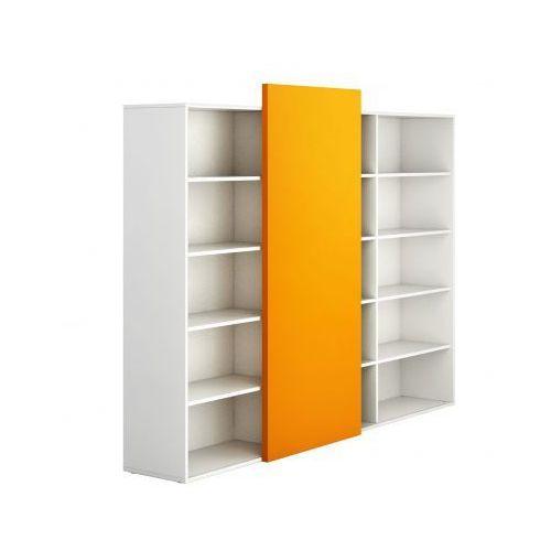 Plan Szafa biurowa wysoka długa bez drzwi block white, pomarańczowa
