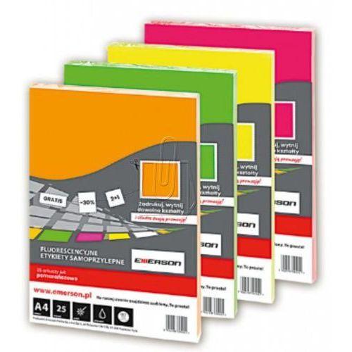 Etykiety samoprzylepne fluorescencyjne A4 pomaranczowe 25 sztuk, 48091