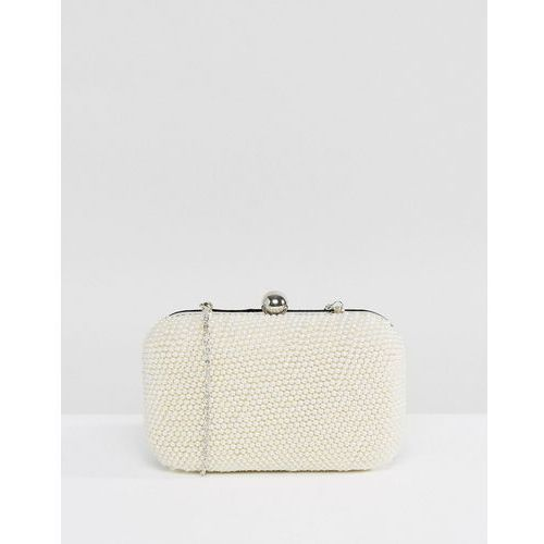 handmade all over pearl effect embellished structured clutch bag - cream marki Park lane
