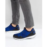 Armani Jeans Crossover Logo Knitted Trainers in Blue - Grey