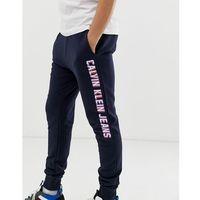 Calvin klein side logo slim fit trousers - navy
