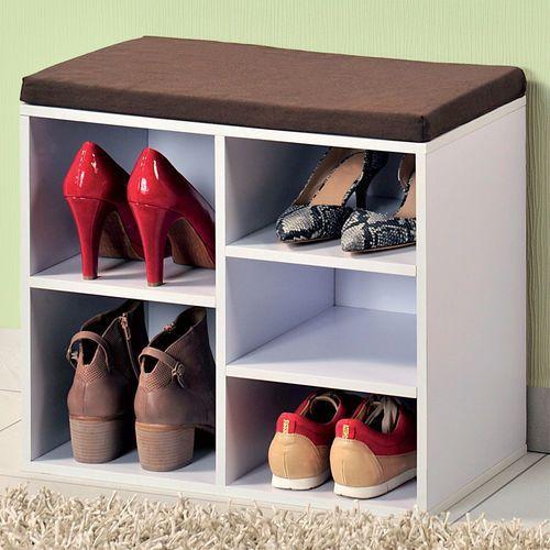 Biała szafka na buty z siedziskiem, siedzisko do przedpokoju, komoda na buty, drewniana szafka na buty, regał na buty, Kesper
