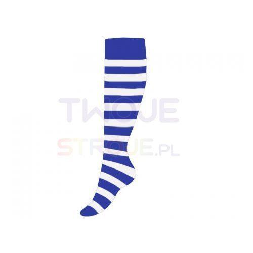 ZAKOLANÓWKI GRANATOWE W BIAŁE PASY XL, kolor niebieski
