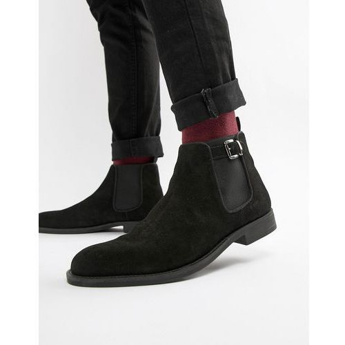 Pier one chelsea boots in black suede with buckle - black