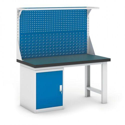 B2b partner Stół warsztatowy gb z szafką i panelem, 1500 mm