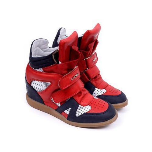 Sneakersy damskie Carinii B3400M-D58 samuel 1680/2/FERRO 1242/VENUS 14 SREBRO 37 czerwony