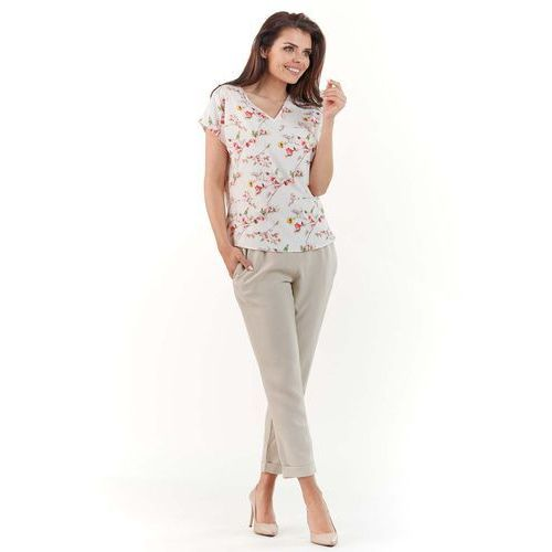 Ecru kobieca bluzka z kwiatowym wzorem z dekoltem v, Infinite you, 36-42
