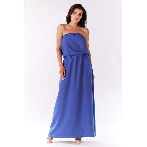 Niebieska Maxi Sukienka z Odkrytymi Ramionami