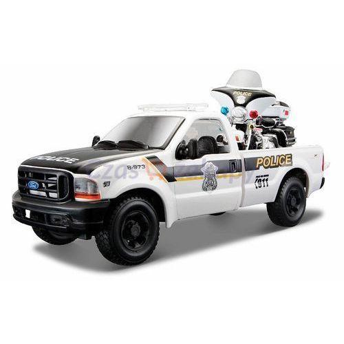1999 ford f-350 pickup 1/27 + 2004 flhtpi electra glide 1/24 police marki Maisto