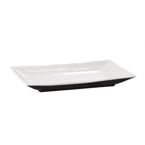 Półmisek prostokątny z melaminy 245x150x30 mm, biały/czarny | APS, Halftone