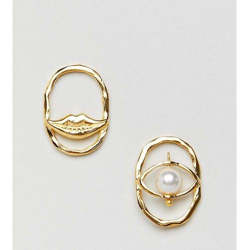 gold plated sterling silver earrings with pearl and lip detail - gold marki Asos design