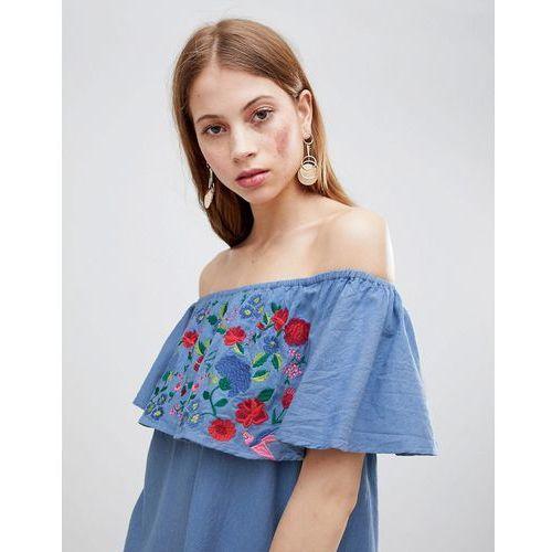 Glamorous Off Shoulder Embroidered Dress - Blue