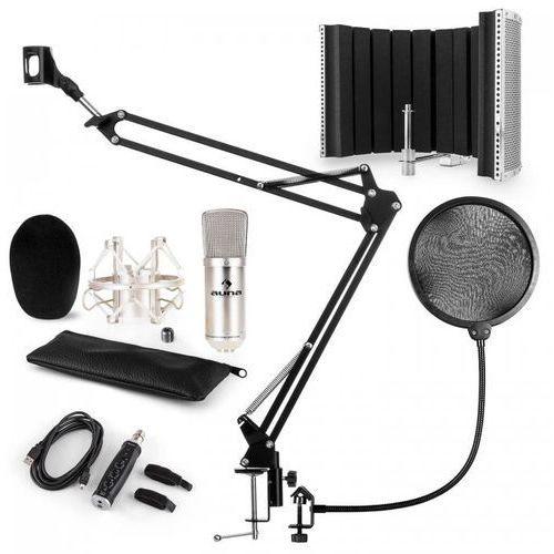 CM001S zestaw V5 mikrofon pojemnościowy adapter USB ramię pop filtr osłona srebrny