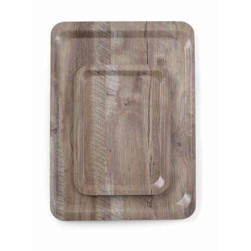Taca melaminowa z nadrukiem drewna - ciemny dąb, wym. 37x53 cm marki Hendi