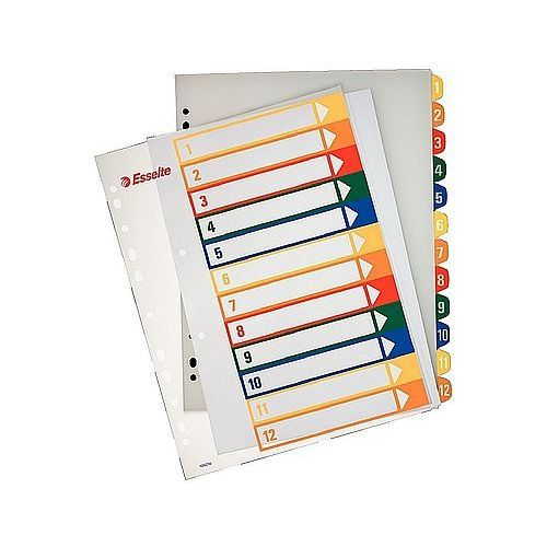 Przekładki plastikowe a4 maxi do nadruku 1-12 100214 marki Esselte