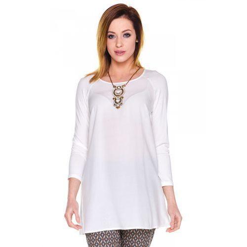 Biała dłuższa bluzka - Bialcon, kolor biały