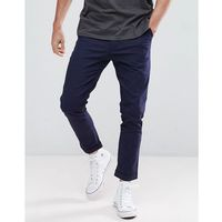 Boohooman tapered fit chinos in navy - navy