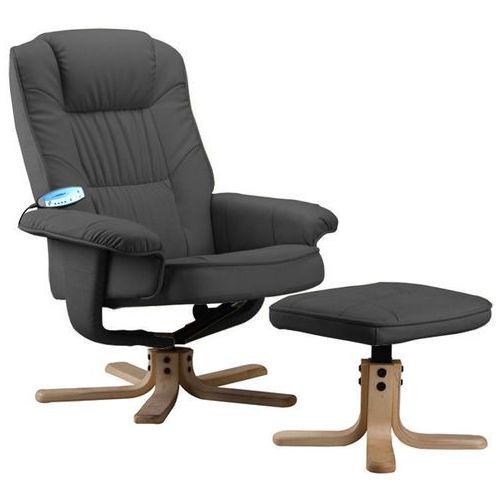 Regoline Szary fotel masujący wypoczynkowy z masażem + ogrzewanie - szary
